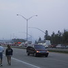 "Each year on Labor Day, part of the <a href=""http://www.mackinacbridge.org/"">Mackinac Bridge</a> is closed to traffic and people are allowed to walk across in the Mackinac Bridge Walk, which attracts tens of thousands of people.  Here I'm on a ramp approaching the bridge.  You can see the long line of cars approaching the bridge, many of which are probably heading towards parking closer to the bridge.  I decided it was easier to park a bit further away and walk to the bridge--when I'm already going to be walking five miles across the bridge, what's an extra half mile?"
